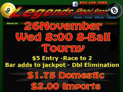 Pool Tournament! - 850.341.3370